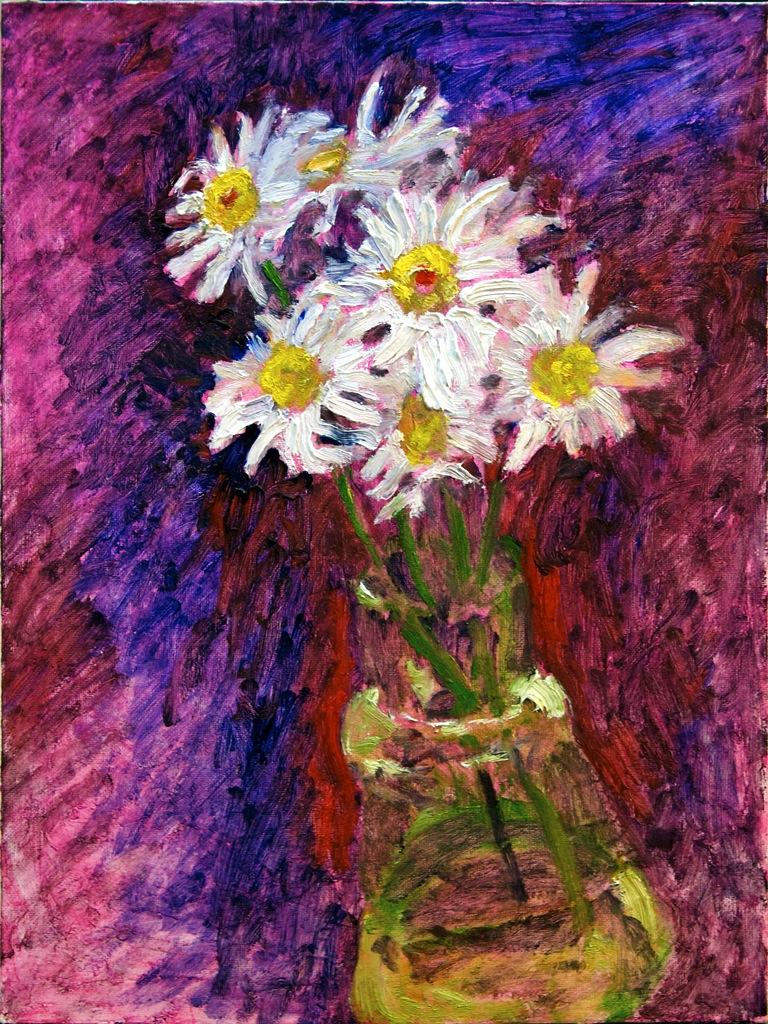 """Daisies"" 12"" x 16"" oil on canvasboard, © Antonio Dias"